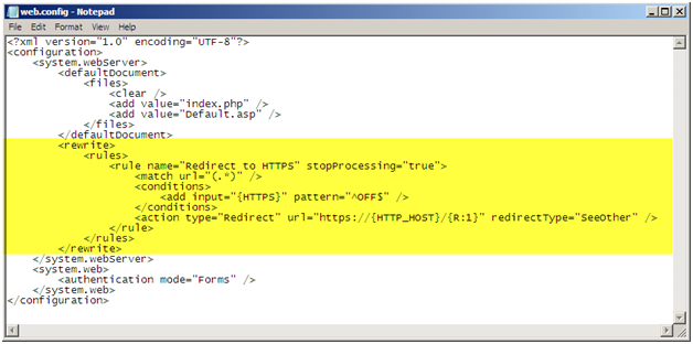 Automatically Redirect HTTP requests to HTTPS on IIS 7 using URL