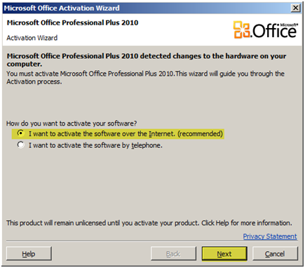 cant activate ms office 2007