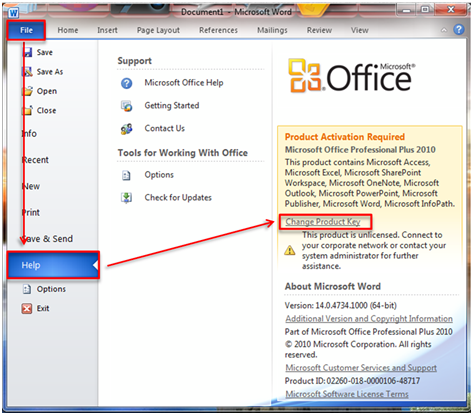 ms office 2010 telephone activation key