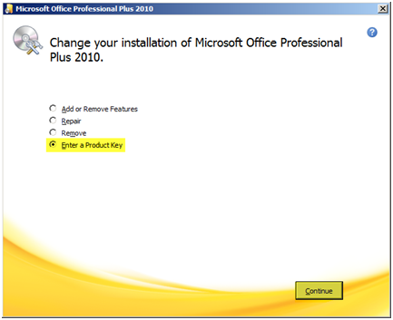 reinstall microsoft office professional plus 2010 with product key